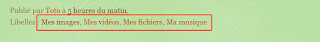 L'option des libellés est affichée sous l'article.