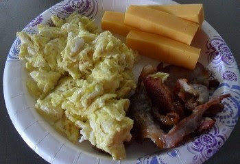 Scrambled Eggs, Bacon, and Cheddar Cheese Sticks for Breakfast
