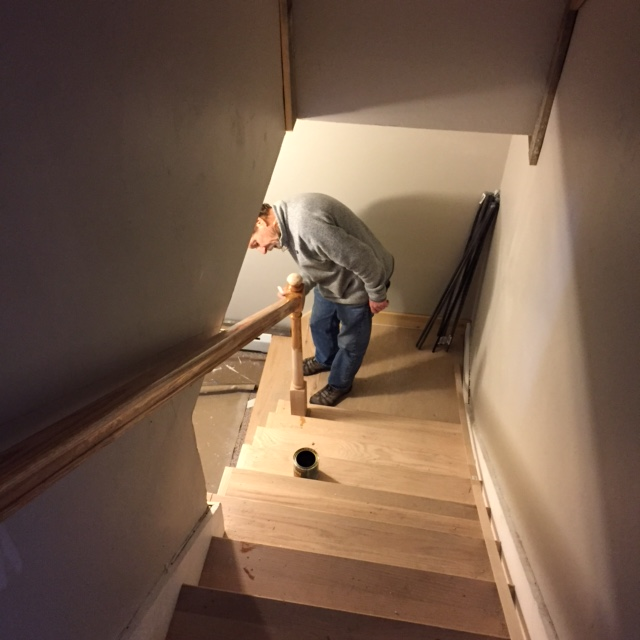 My Dad Stopped In And Started Staining The Railings For Both Sets Of  Stairwells, And Then I Started Staining The Stairs To The Top Floor.