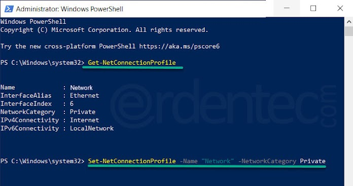 Change Network profile with PowerShell