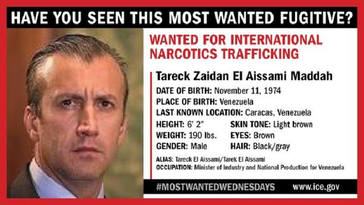 La ficha de El Aissami publicada por el Servicio de Inmigración y Aduanas de EEUU /  ICE