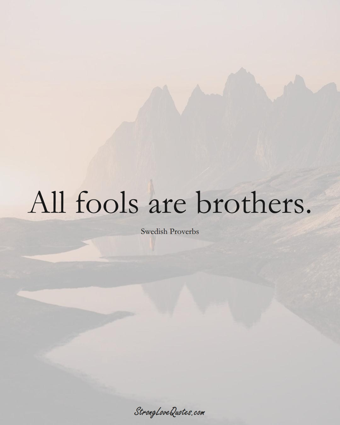 All fools are brothers. (Swedish Sayings);  #EuropeanSayings