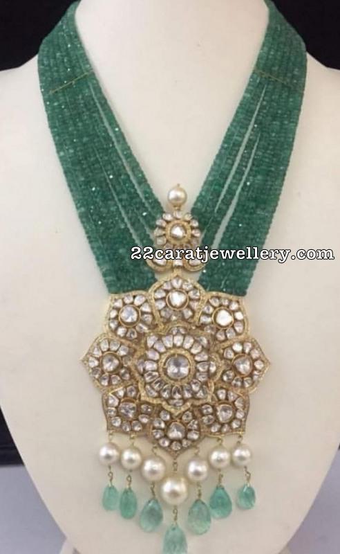 Emerald Beads Set with Polki Pendant