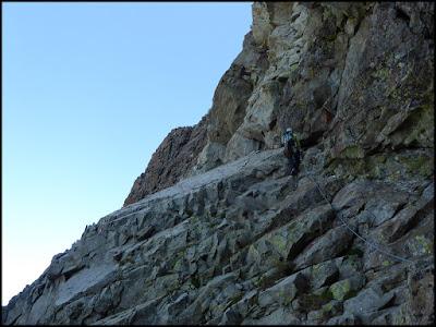 En el paso de las placas blancas, de la Fourche al Gran Pic del Midi d'Ossau