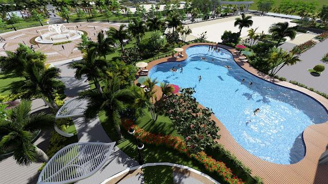 Phối cảnh bể bơi ngoài trời và quảng trường trung tâm tại An Bình City