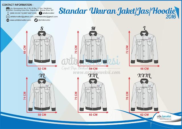 Standar ukuran jaket/jas/hoodie