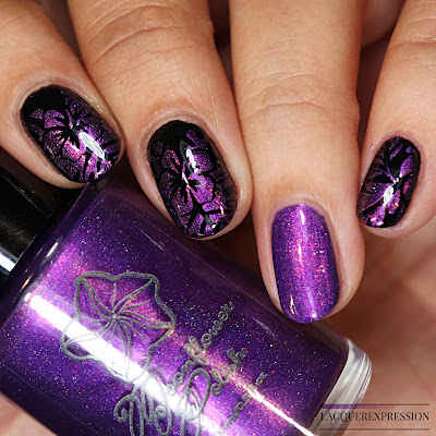 Moonflower Polish Tropical Winter Vacation Indie Swatch and Review of purple stamping polish with red shimmer and scattered holo for polish pick up PPU