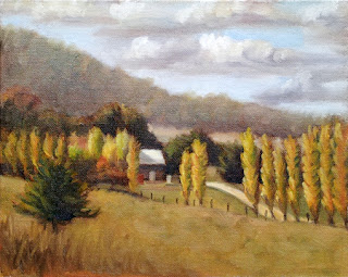 Oil painting of a small building with a nearby row of poplar trees and distant hills.