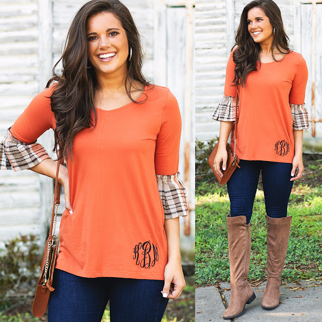 pumpkin bell sleeve top outfit