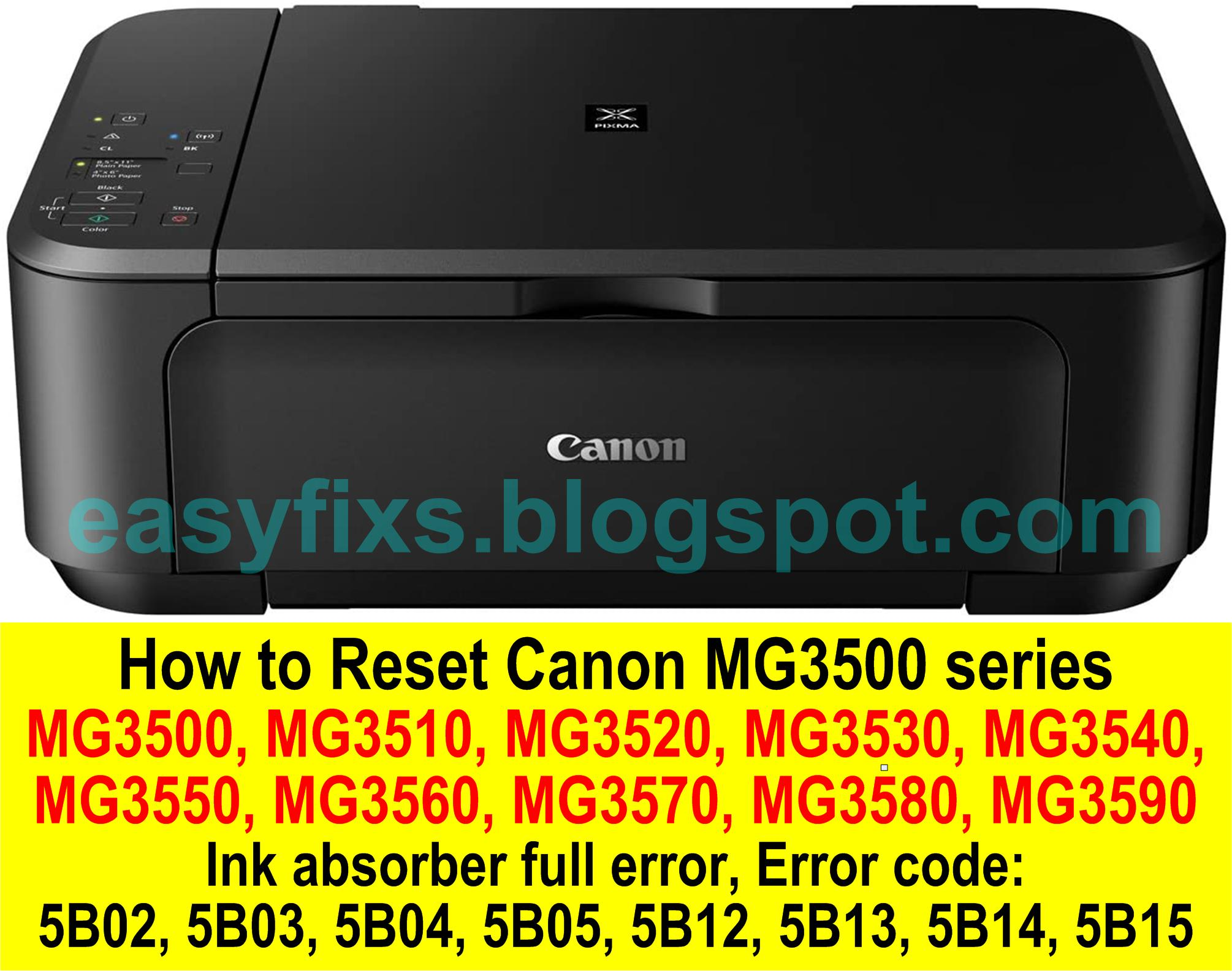 easyFIXS How to Reset Canon MG20 series Ink absorber full error ...