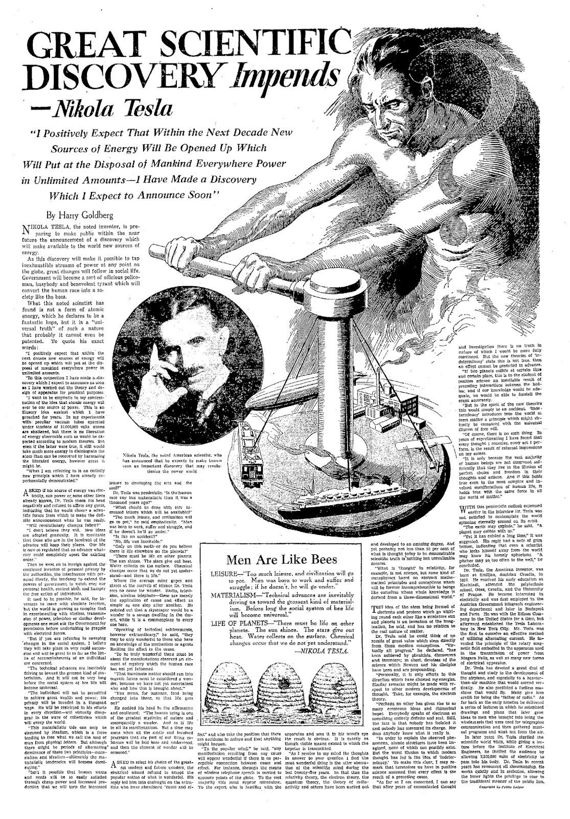 Great Scientific Discovery Impends  A Nikola Tesla