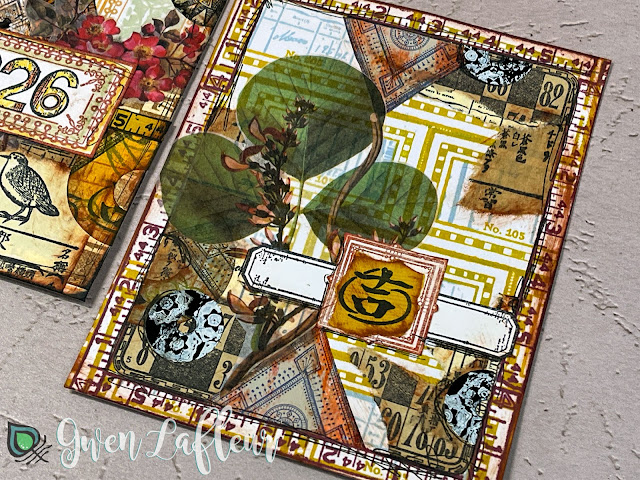 Mixed Media Collage 2 with EGL19-21 Stamps and DIY Stickers - Gwen Lafleur