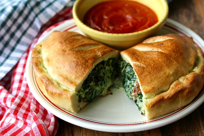 Spinach, Ricotta, and Three-Meat Calzones