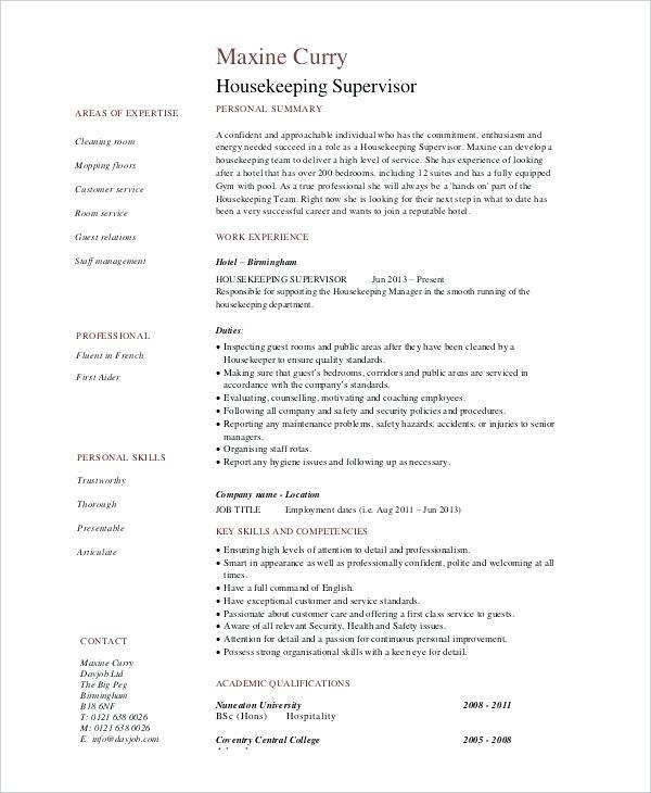 resume examples housekeeping hospital jobs