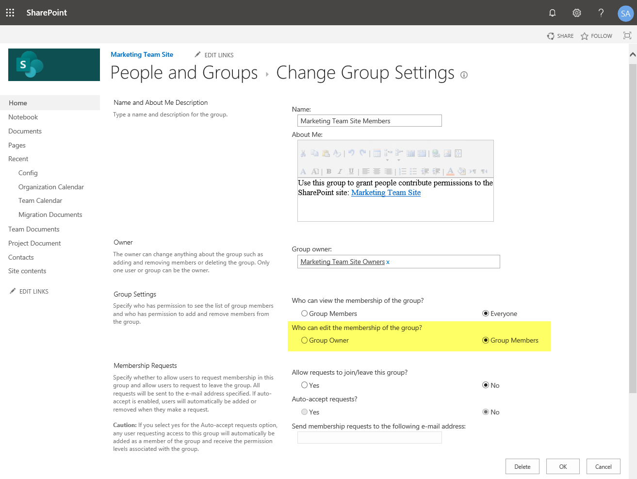 sharepoint online group settings