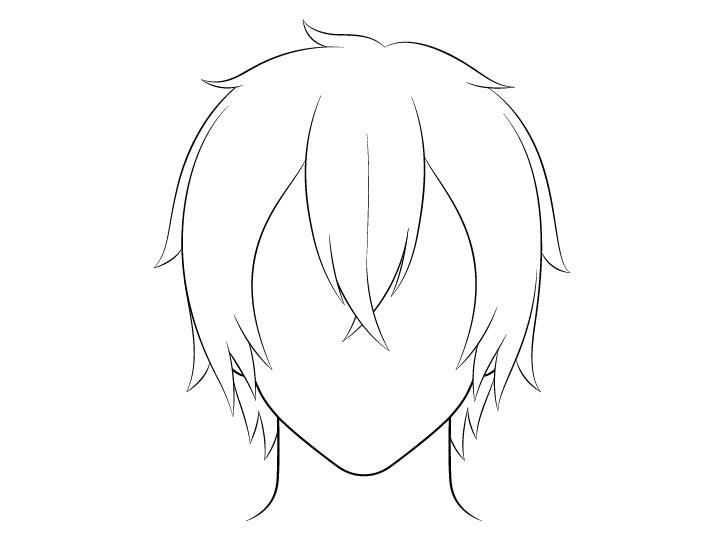 Anime gambar garis rambut pria panjang menengah