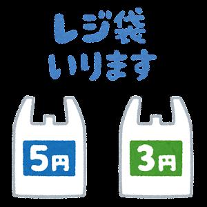 「レジ袋いります」のイラスト(3円 5円)
