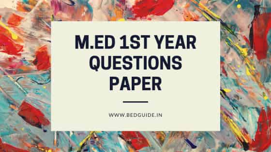 M.ED First-Year Questions Paper PDF Download