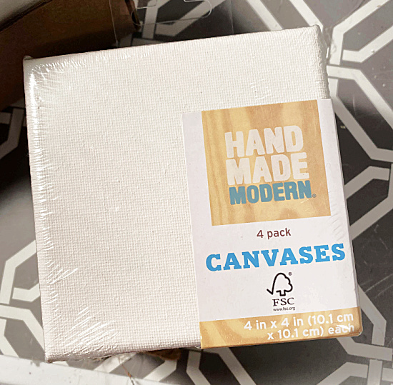 package of mini canvases from Target
