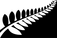 Proposed new flag design for New Zealand: Silver Fern (Black and White) by Alofi Kanter, Option A on the ballot for the November-December 2015 referendum vote