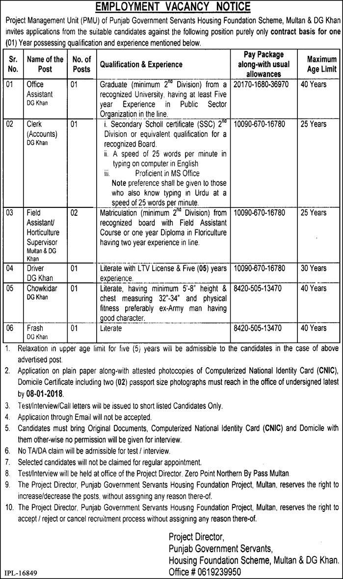 Jobs In Punjab Government Servants Housing Foundation Multan and DG Khan Dec 2017