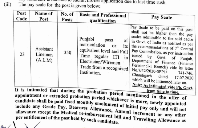PSTCL ALM Pay Scale