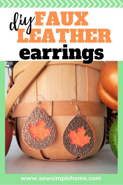Make your own festive fall faux leather earrings with these Cricut cut files.