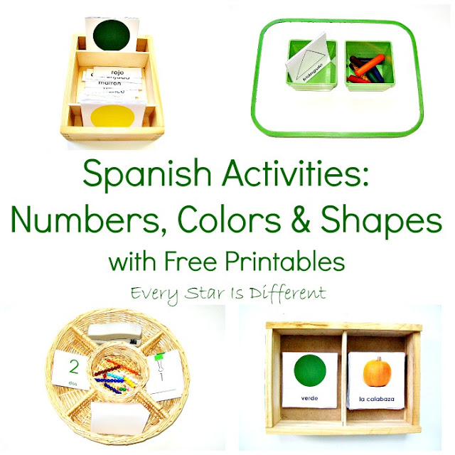 Spanish letter, number, color and shape activities and free printables for kids.