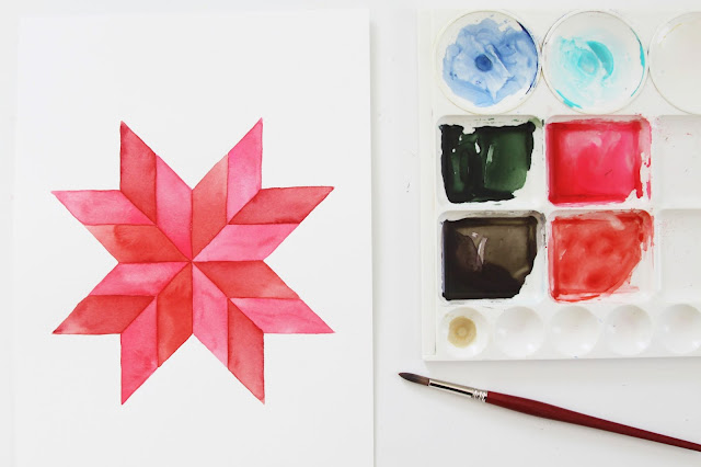 watercolor, quilt block, eight point star, Anne Butera, My Giant Strawberry