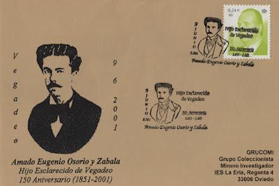 Tarjeta del matasellos en Vegadeo, homenaje a Amado Osorio y Zabala