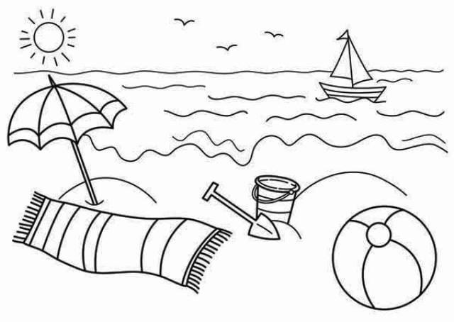 Sketsa Gambar Mewarnai Pemandangan Alam Pantai