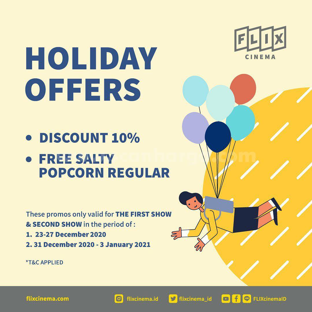 FLIX CINEMA HOLIDAY OFFERS! Discount 10% & Free Salty Popcorn Regular