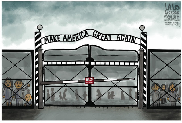 Picture of Auschwitz like fence and gate with children standing behind it.  Above it is written,
