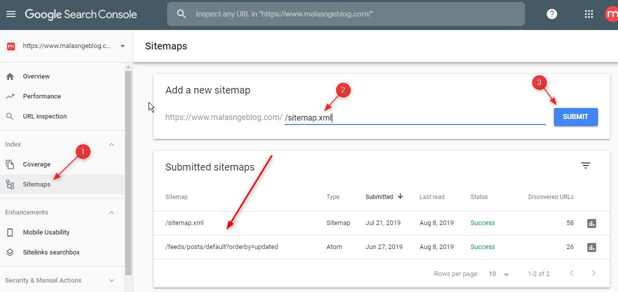 Submit Sitemap Blogger ke Google Webmasters Tools