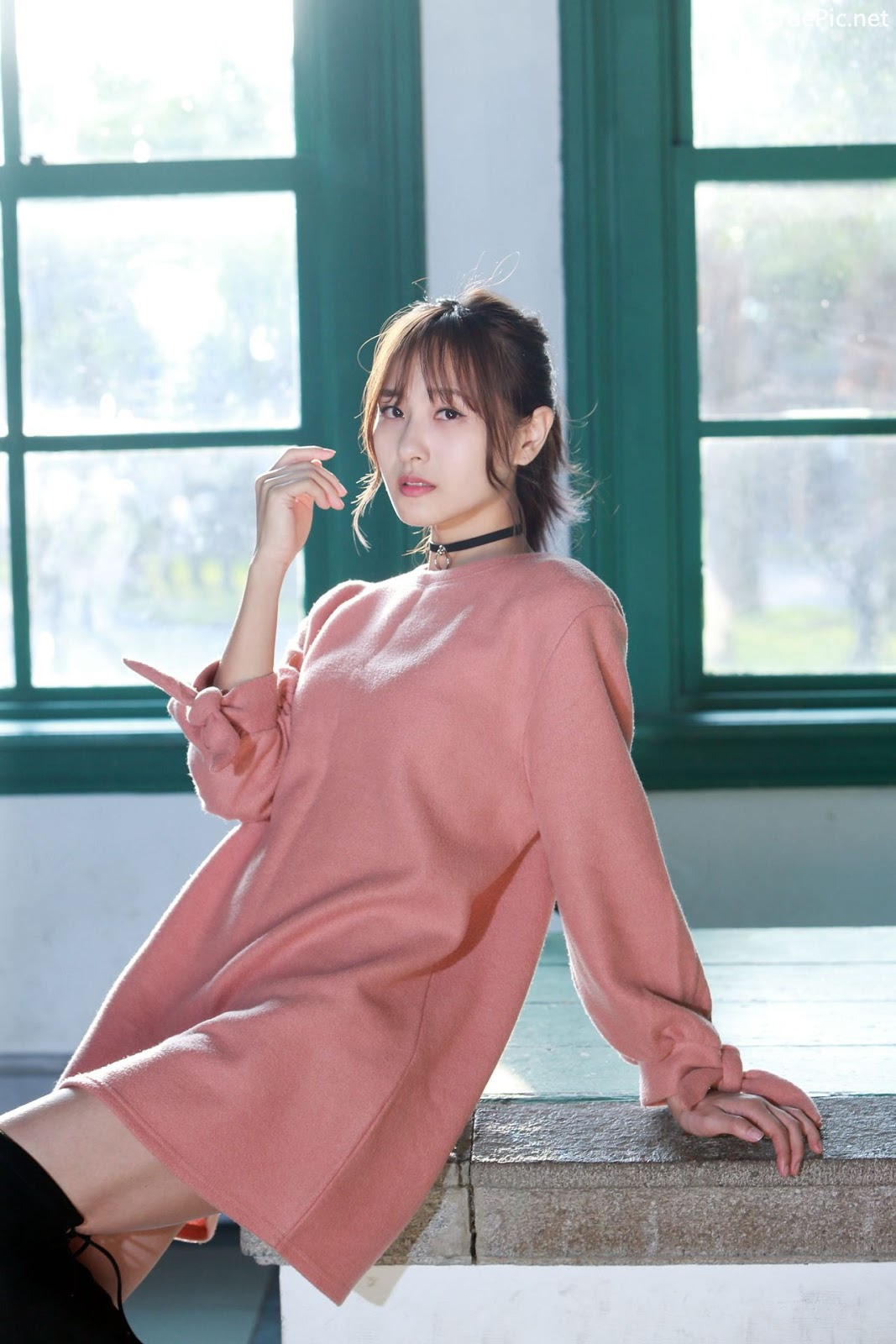 Image-Taiwanese-Model-郭思敏-Pure-And-Gorgeous-Girl-In-Pink-Sweater-Dress-TruePic.net- Picture-8