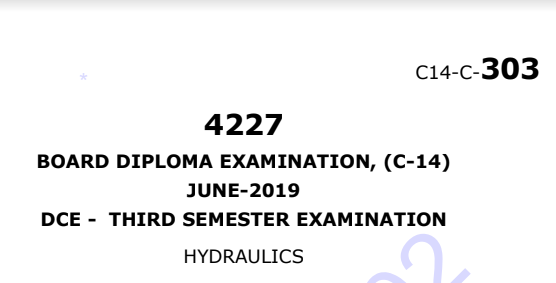Diploma Hydraulics Previous Question Paper c14 June 2019