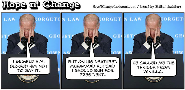 obama, obama jokes, political, humor, cartoon, conservative, hope n' change, hope and change, stilton jarlsberg, muhammad ali, joe biden, ramadan, vietnam