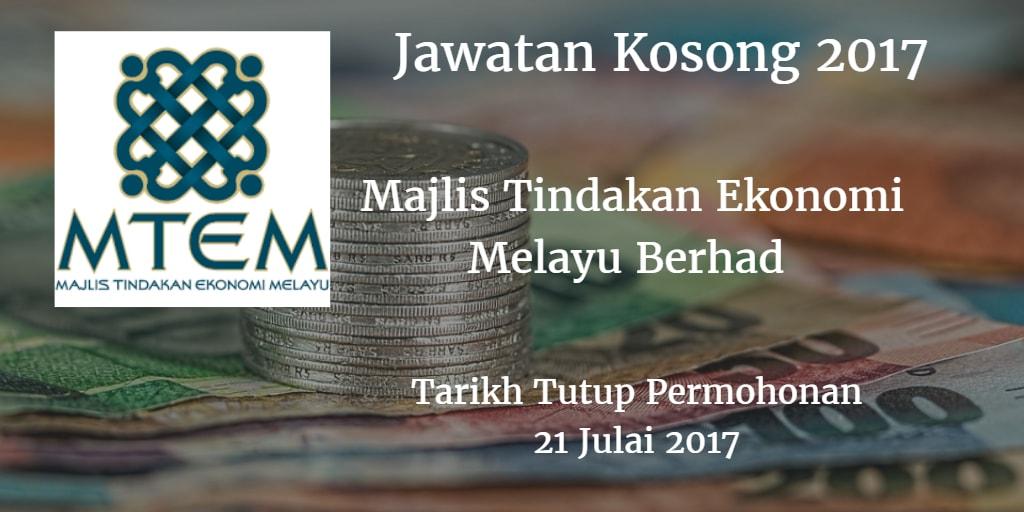 Jawatan Kosong MTEM 21 Julai 2017