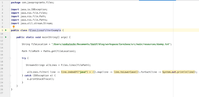 Java 8 Read File Line By Line + Stream + Filter