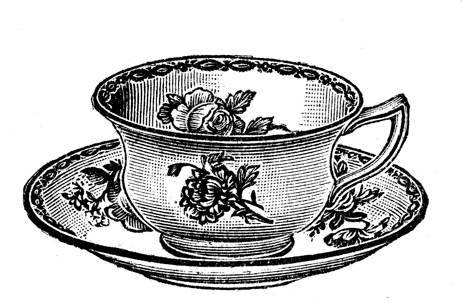 tea cup clipart black and white - photo #4