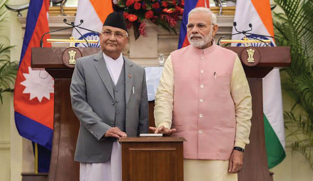 Image Attribute: Nepalese Prime Minister K.P. Sharma Oli and Indian Prime Minister Narendra Modi jointly lay the foundation stone for Arun-III through a remote system on May 11, 2018.