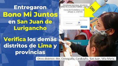 Midis: Bono Mi Juntos por primera vez en zonas urbanas de Lima y provincias