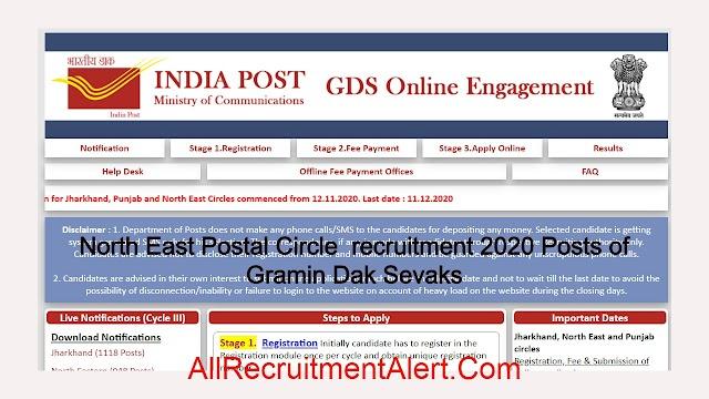 North East Postal Circle  recruitment 2020 Posts of Gramin Dak Sevaks