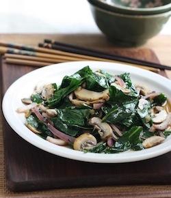 stir-fried collard greens with mushrooms recipe
