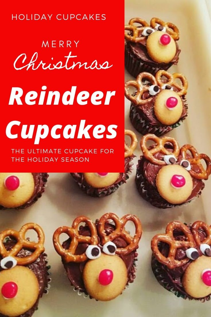 these are easy festive rudolph cupcakes for Christmas