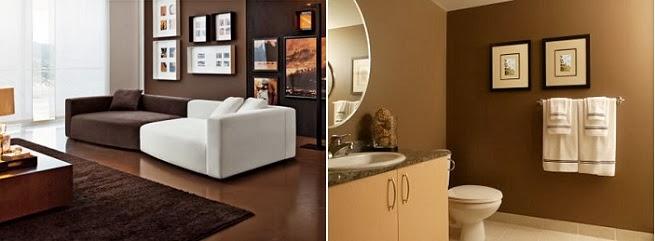 salón y baño marrón