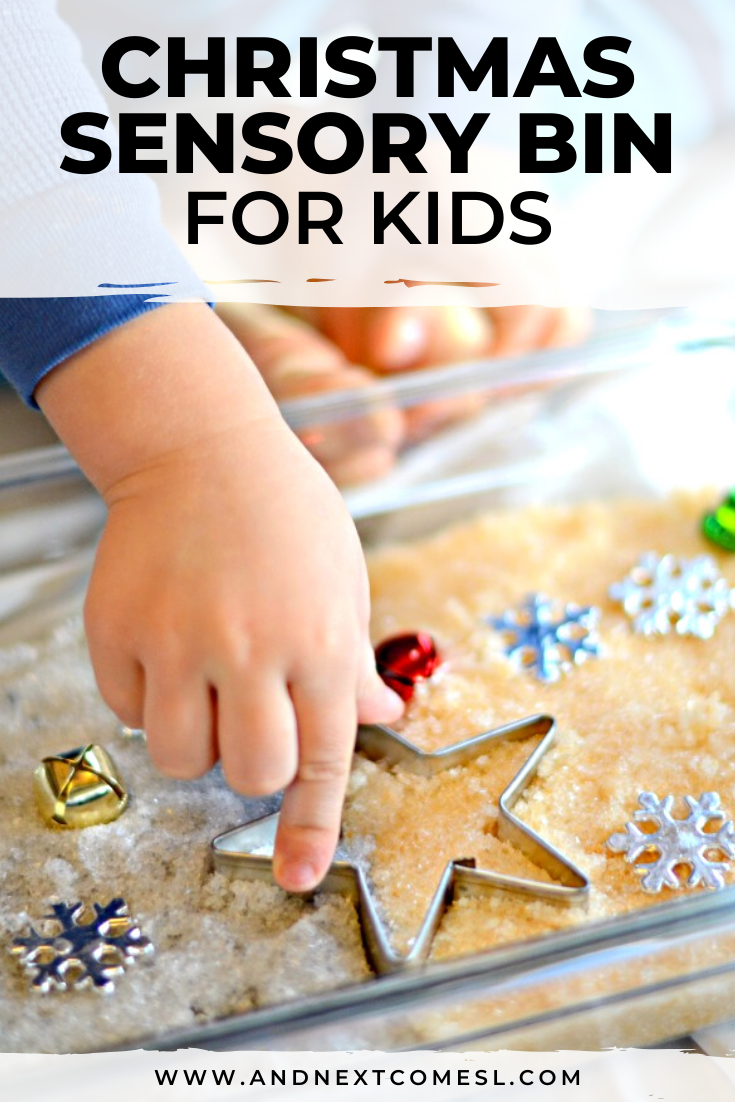 "Christmas sensory bin for toddlers, preschool, and kindergarten kids that's inspired by the Christmas carol ""Silver & Gold"""