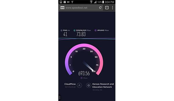 اختبار سرعة الانترنت على تطبيق Puffin