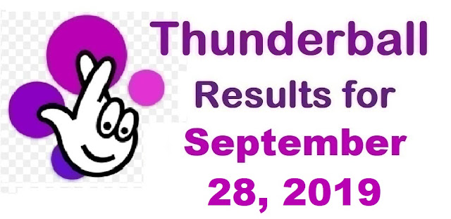 Thunderball results for Saturday, September 28, 2019