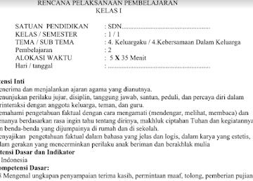 RPP Kurikulum 2013 SD Kelas 1 Revisi Tema 4 Subtema 4 Pembelajaran 2 Edisi Terbaru